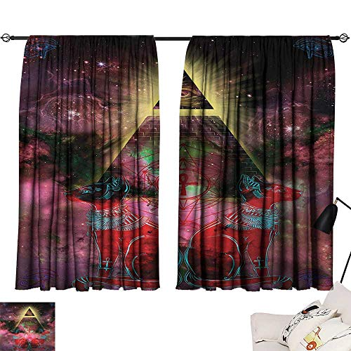 Jinguizi Astronomy Set of 2 Panels Sacred Ancient Egyptian Pyramids with Occult Sacred Eye and Bastet Artwork Home Darkening Curtains Plum and Red W72 x L63