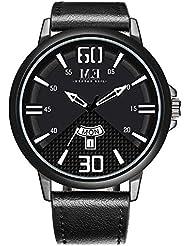 Menton Ezil Mens Watches Brown Leather Strap Fashion Business Waterproof Analog Quartz Casual Dress Wrist Watch...
