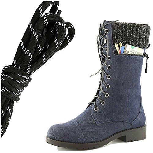 Dailyshoes Womens Style De Combat Lacets Cheville Bout Rond Bout Militaire Militaire Carte De Crédit Couteau Argent Portefeuilles De Poche, Noir Blanc Bleu Denim