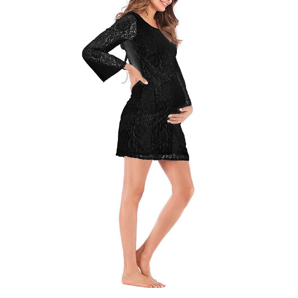 Maternity Bodycon Dress Women Lace Long Sleeve Pregnat Nursing Comfortable Blouse Black