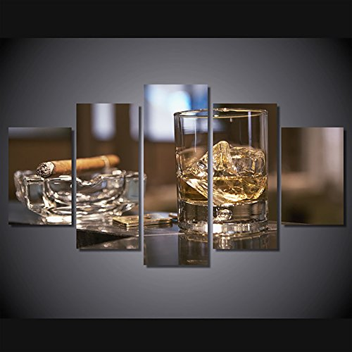 - Brown Liquor In Cup With Cigar on Wooden Table Paintings Canvas Print and Poster Wall Art Glass of Whiskey Wine Giclee Home Decor 5 Piece Picture Modern Framed Stretched Ready to Hang(50''Wx24''H)