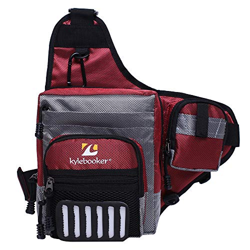 Kylebooker Fishing Tackle Storage Bags Shoulder Pack (Red)