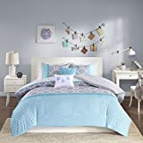 Intelligent Design Clara Teen Girls Duvet Cover Set King/Cal King Size - Sky Blue, Grey, Pieced Geometric – 5 Piece Duvet Covers Bedding Sets – Peach Skin Fabric Girls Bedding Bed Sets