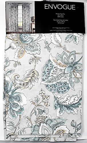 ENVOGUE Window Curtains Turquoise Exotic Jacobean Flowers Border Print Leaves Floral Climbing Vine Garden Branches Road Pocket 100% Cotton Drapes 2 Panels 50-by-96-inch Blue Teal (Mint Green) (Floral Print Jacobean)