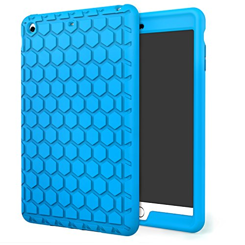 MoKo iPad Mini 3/2/1 Case - [Honey Comb Series] Light Weight Shock Proof Soft Silicone Back Cover [Kids Friendly] for Apple iPad Mini 1 (2012), iPad Mini 2 (2013), iPad Mini 3 (2014), BLUE ()