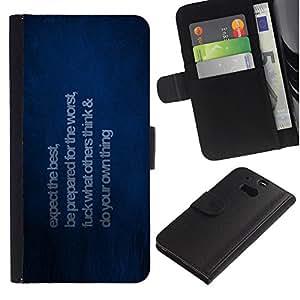 Stuss Case / Funda Carcasa PU de Cuero - Esperamos lo mejor - HTC One M8
