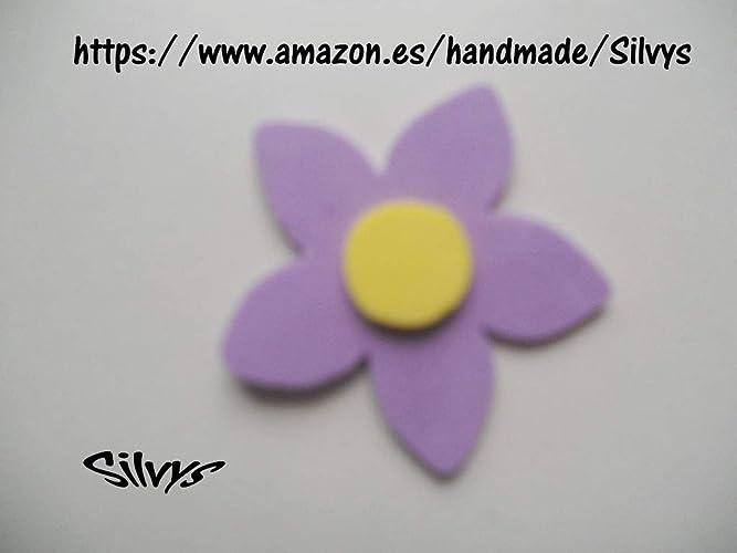 10 Flores de goma eva con 5 petalos color morado y ...