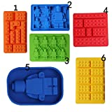 Lego Brick and Robot Minifigure Silicone Chocolate Jelly Ice Cube Cake Mold Tray Building Brick Candy Soap Mold For Lego Lover (1Pc Only Random Design)