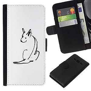 Be-Star la tarjeta de Crédito Slots PU Funda de cuero Monedero caso cubierta de piel Para Samsung Galaxy A3 ( Minimalist Pen Drawing Skull White )