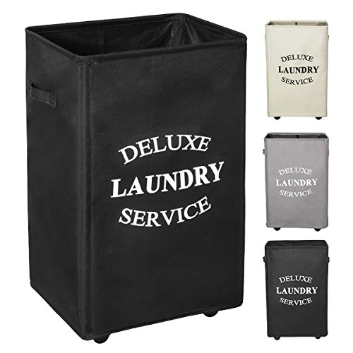 WOWLIVE Large Rolling Laundry Hamper Basket Wheels Durable Dirty Clothes Bag Collapsible Rectangular Washing Bin (Black)