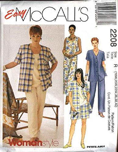 McCall's Patterns M2208 Women's Shirt, Dress Or Top, Pull-On Pants Or Shorts, Size R (18W-20W-22W)