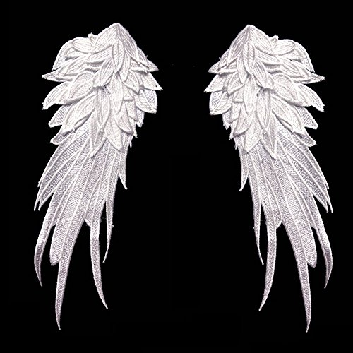 1Pair White Embroidered Angel Wings 10.6x5.1 inch ()