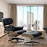 Modern Sources Recliner Lounge Chair with Ottoman Eames Real Wood Black Italian Leather (Black/Walnut)