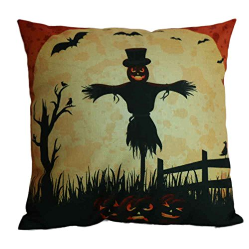 Napoo Happy Halloween Pillow Cases, 2017 Cute Square Throw Linen Pillow Case Cushion Cover Burlap Home Sofa Decor Cat Pumpkin Owl Ghost Scarecrow (B)]()