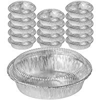 DecorRack Round 7 Inch Aluminum Pans with Dome Lid, Heavy Duty Tin Foil Pans, Perfect for Reheating, Baking, Roasting, Meal Prep, to-Go Containers, Environmentally Friendly (Pack of 14)