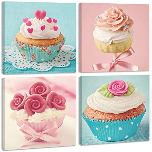 (TONZOM Canvas Wall Art Waterproof painting Cupcake Cream Background Wall Stretched and Framed Ready to Hang For Cafes, bars, Decoration Print)