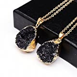 UltimaFio(TM) Druzy Quartz Natural Stone Irregular Geode Amethyst 18K Gold Plated Raw Stone Pendant Necklace For Women Quartz Necklace