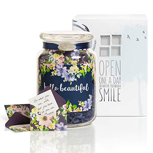 (KindNotes Glass Keepsake Gift Jar with Friendship and Inspirational Messages - Sweet Blossom Hello Beautiful)