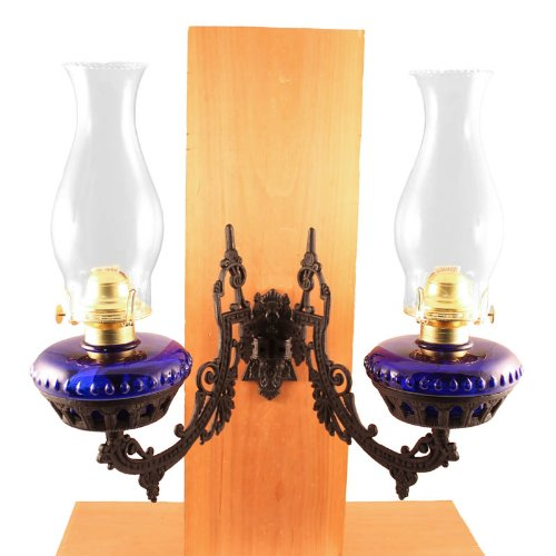 Victorian Oil Lamp - Vermont Lanterns - Dual Glass Oil Lamp w/Cast Iron Wall Bracket (Cobalt Blue)