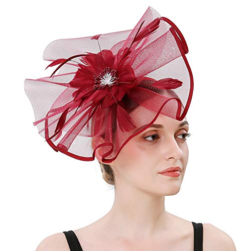 Sinamay Feather Fascinators Womens Pillbox Flower Derby Hat for Cocktail Ball Wedding Church Tea Party (Burgundy) -