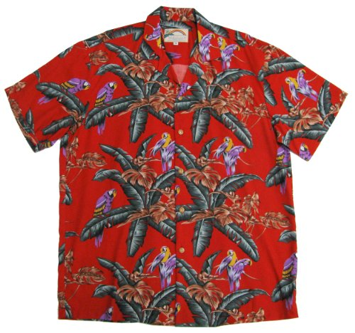 Mens Magnum - Paradise Found Jungle Bird Red Tom Selleck Magnum PI Hawaiian Shirt,Medium