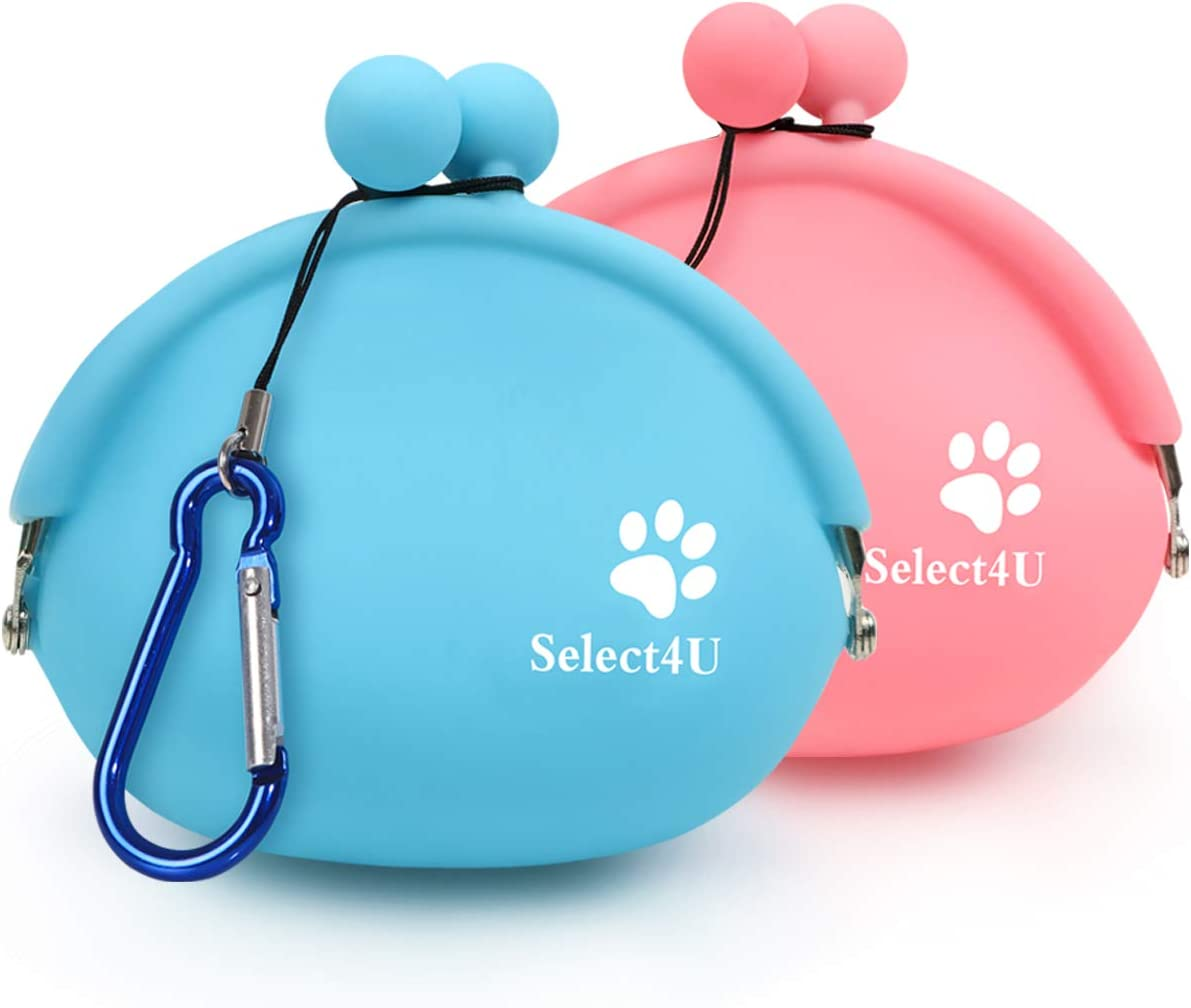 Silicone Dog Treat Pouch Reusable, Set of 2 Dog Training Bag Small Dog Snack Pouch Coin Purse Key Case Silicone Coin Pouch