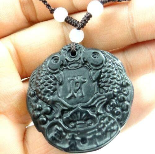 - FidgetKute Beautiful100% Chinese Jade Hand-Carved The Statue of Double Fish Pendant AA38