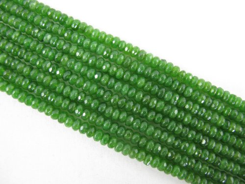 Mountain Jade Beads (Mountain Jade (Dyed) Green Color 2x4mm Faceted Rondelle 150pcs 15.5'' Per Strand)
