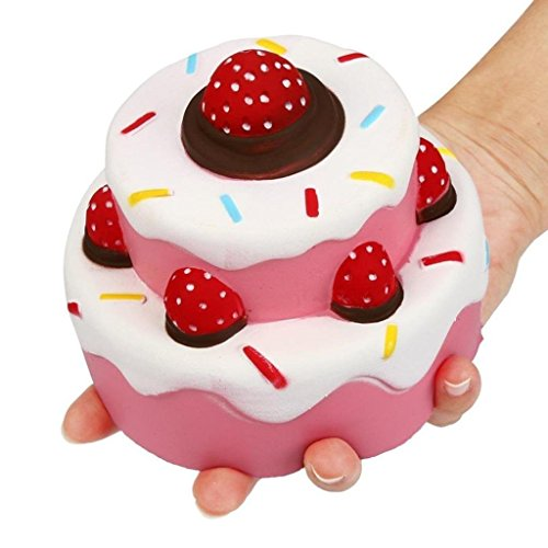 Rednow Jumbo Scented Slow Rising Squishies Cheeki Pink Strawberry Cake Squishy Kawaii Squishy Toys for Kids and Adults
