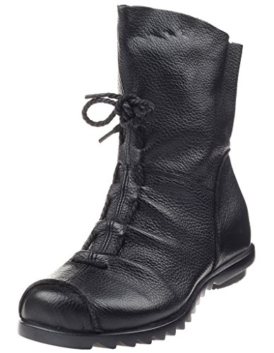 Mordenmiss Women's Cap Toe Boots Handmade Ankle Oxford Side Zipper Style 2 42 Black by Mordenmiss