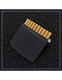 Men's Cigarette Case Ultrathin Portable Metal Stainless Steel Cigarettes Box Can Hold 10,Black,9.7X8.7X1.5CM