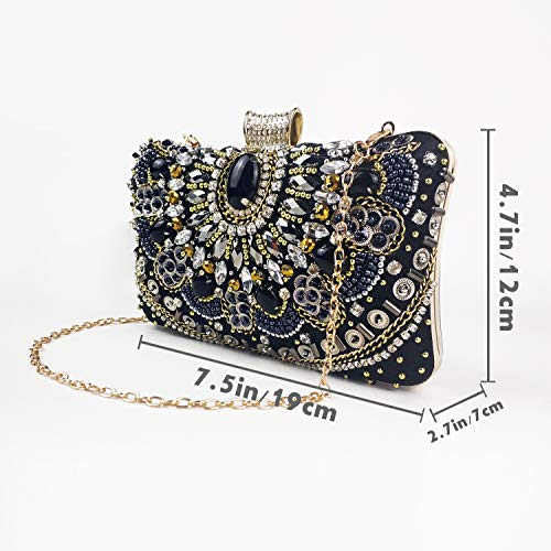 Womens Evening Bag/Clutch,Vintage Handmade Wedding Party Handbag/Purse/PartyBag, Packed in Gift Box(Black-Beaded) by zebrum (Image #3)