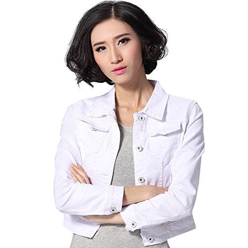 Wholesale Froomer Womens Classic Cropped Long Sleeve Denim Jean Jacket with Pockets for sale