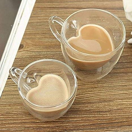 ndht Pack de 2 diferentes tamaño resistente al calor de doble capa térmica de cristal en forma de corazón Latte tazas/tazas de café/tazas de té, ...