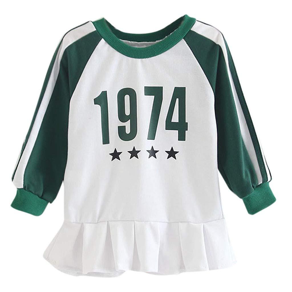 Jchen(TM) Little Kids Baby Girls Dress Long Sleeve Letter Stars Stripe Ruched Skirt Princess Sweatshirt Dress for 1-5 Y (Age:12-18 Months, Green)
