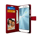 Asus Zenfone 3 ( 5.2' inch ZE520KL ) PU Leather Magnetic Flip Cover Wallet Case by FOSO(™) (Red)