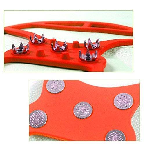 QHGstore 1 Paar 5 Zähne PE Eis Schnee Steigeisen Anti Blockier System Boot Überschuhe Spike Klampen Eis Greifer für Outdoor Klettern Wandern Gehen M Rot