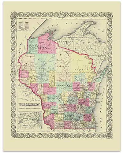 Wisconsin Vintage Map Circa 1855-11 x 14 Unframed Print - Great Housewarming Gift. Wisconsin Themed Office - Antique Map Wisconsin