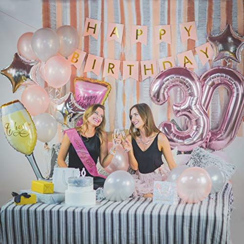 30th Birthday Decorations Girl Sash 40 Rose Gold 30 Number