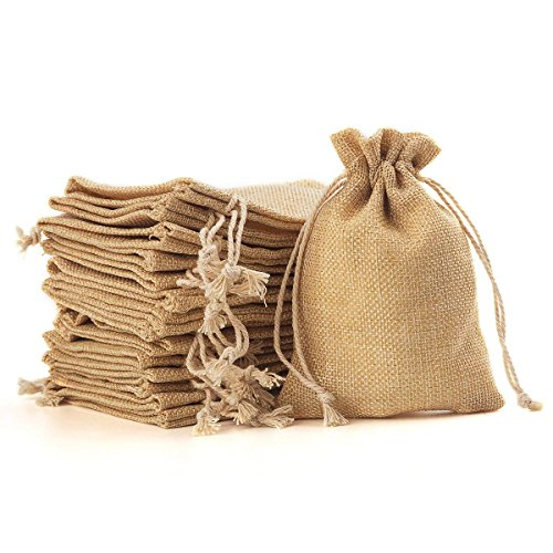 YUXIER 100 Burlap Bags with Drawstring Gift Jute Bags Small Burlap Bags Party Favor Bags for Wedding Party, Storage Arts Crafts Projects, Presents, Snacks, Jewelry Bags(5.3 x 3.7inch) (Flaxen)]()