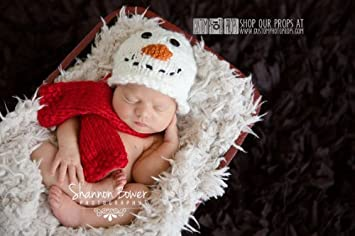 Amazon.com : Snowman Christmas Newborn Photo Props, Holiday Hat ...