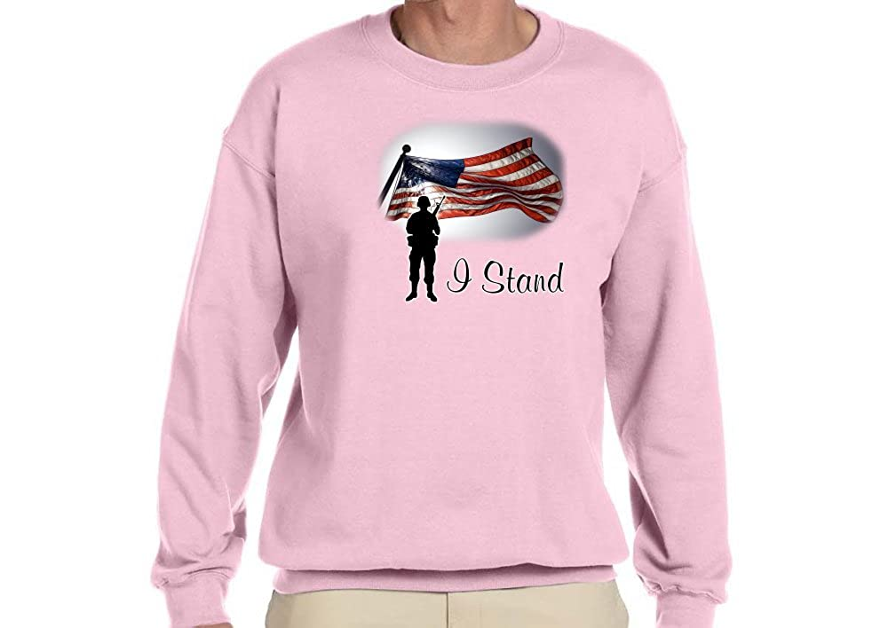 Accented Apparel N More Custom I Stand w//US Flag /& Soldier on Sweatshirt