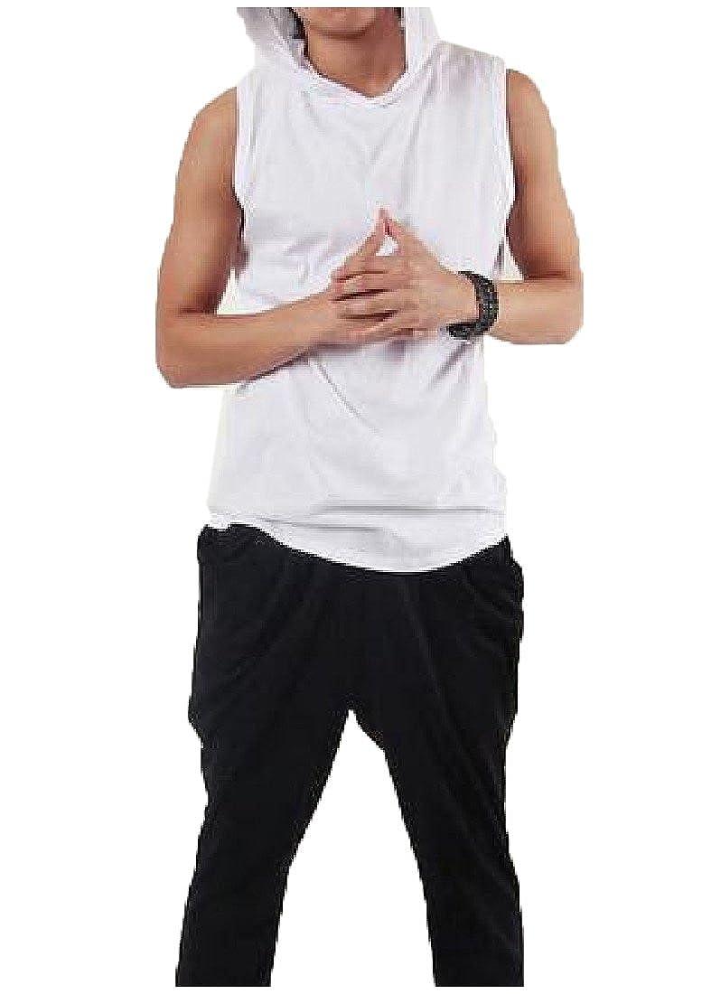 Winwinus Mens Solid Hiphop Sleeveless Pullover Hooded Shirt Tops Tees