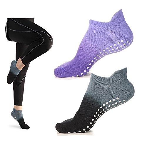 Women's Grip Socks for Yoga Pilates Barre Dance Ombre Dyed Non Slip Socks 1-2 Pack