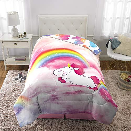"Universal Despicable Me Fluffy Unicorn Kids Bedding Soft Microfiber Reversible Comforter Twin Size 64"" x 86"" -"