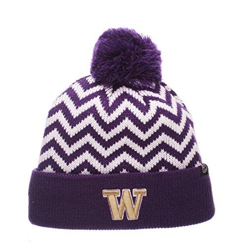 Team Colors Knit Beanie (NCAA Washington Huskies Adult Women Altitude Women's Knit Hat, Adjustable, Team Color)