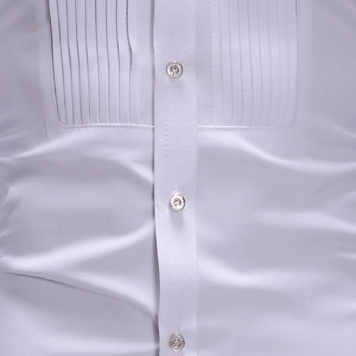 Fseason-Men Accordion Pleated Dress Stand Up Collar Slim Fit Shirt Tops