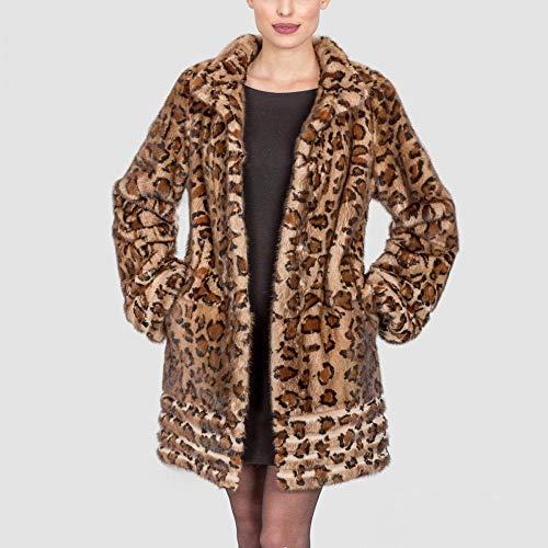 Pelliccia Lunghe Donna Jacket Shilanmei Top Cappotto Leopard Maniche Invernale A Fluffy In Da Sintetica Size Plus AwqtHY8q