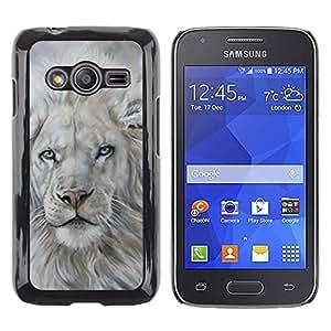 TopCaseStore / la caja del caucho duro de la cubierta de protección de la piel - White Lion Snow Painting King Animal Fur - Samsung Galaxy Ace 4 G313 SM-G313F