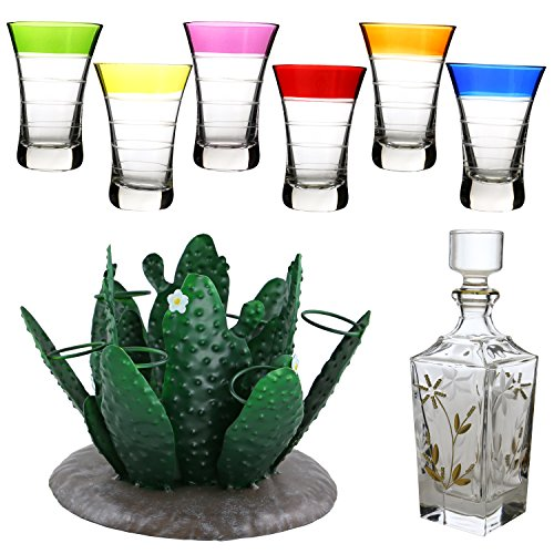 Tequila Bottle, One Green Nopal Cactus Bottle And Shot Glasses Holder Metal Centerpiece, 1 Set Of 6 Multicolor Shot Glasses And 1 Liquor Decanter And Stopper 9-piece Set (Imported Tequila)